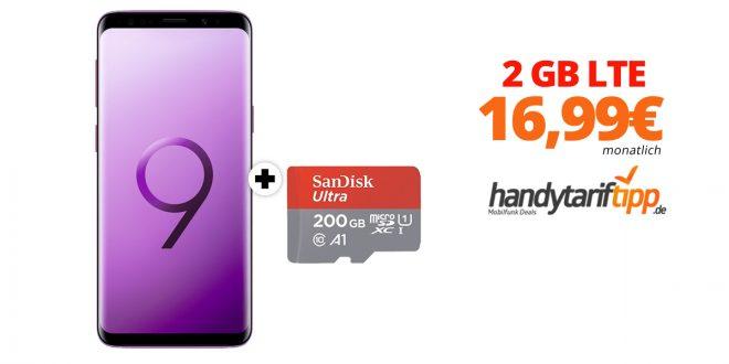 Galaxy S9 + 200GB MicroSD mit 2GB LTE nur 16,99€