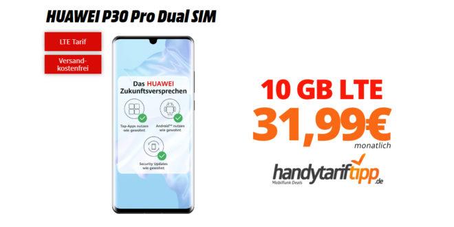 HUAWEI P30 Pro mit 10 GB LTE nur 31,99€