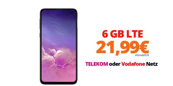SAMSUNG Galaxy S10e mit 6 GB LTE im Telekom oder Vodafone Netz nur 21,99€