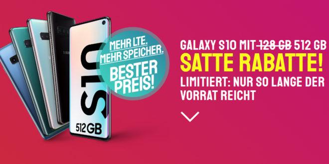 Galaxy S10 512GB mit 20 GB LTE nur 34,99€