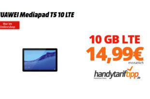 HUAWEI Mediapad T5 10 LTE mit 10 GB LTE Telekom nur 14,99€