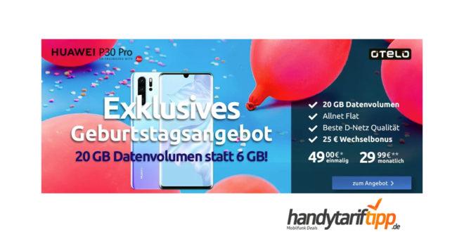 Huawei P30 Pro mit 20 GB LTE nur 29,99€