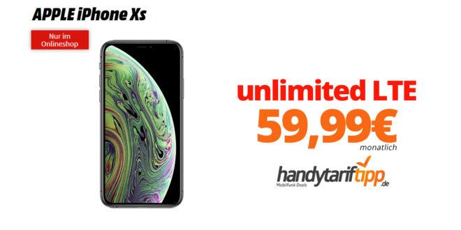 iPhone Xs mit iPhone Xs Max mit unlimited LTE nur 59,99€ LTE nur 59,99€