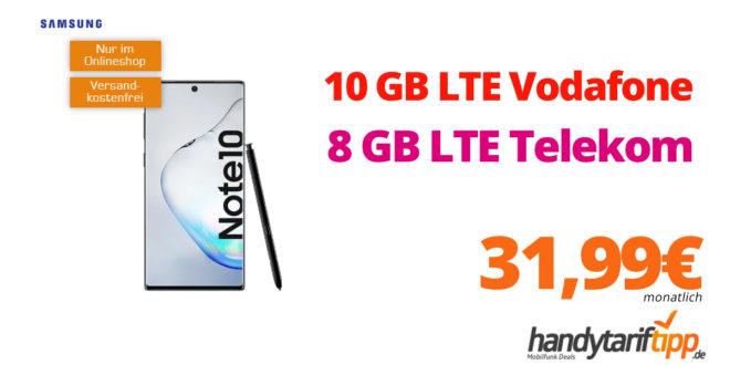 Galaxy Note10 mit 10GB LTE Vodafone oder 8GB LTE Telekom nur 31,99€