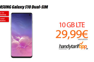 Galaxy S10 Dual-SIM mit 10GB LTE nur 29,99€