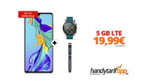 HUAWEI P30 inkl. Displayschutzglas & Watch GT Active & Silikon Armband mit 5 GB LTE nur 19,99€