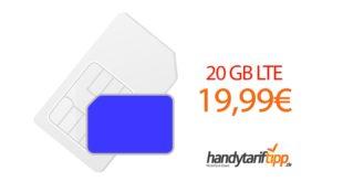 20GB LTE Allnet (monatlich kündbar) nur 19,99€