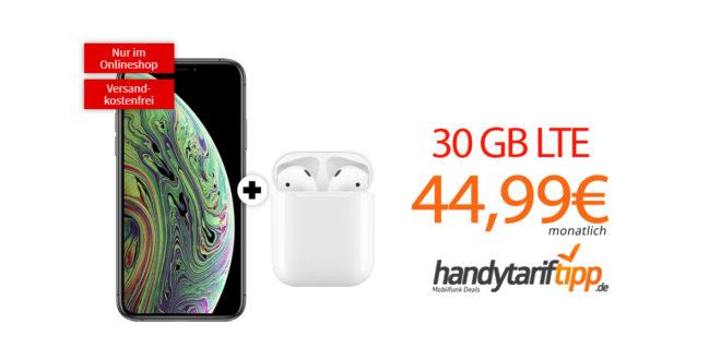 APPLE iPhone XS & Apple AirPods mit 30 GB LTE nur 44,99€