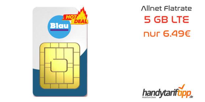 ✔ 5 GB LTE ✔ Allnet Flat ✔ nur 6.49€ mtl.