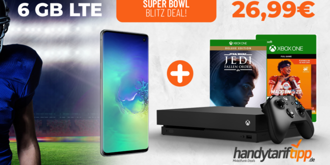 SUPER BOWL Blitz-Deal! Galaxy S10 & Xbox X Star Wars & NFL 2020 mit 6 GB LTE nur 26,99€