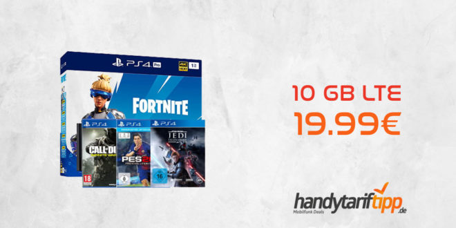 Sony PlayStation 4 Pro & Fortnite & Star Wars Jedi: Falle Order & CoD Infinite Warfare & PES 2018 mit 10 GB LTE nur 19,99€