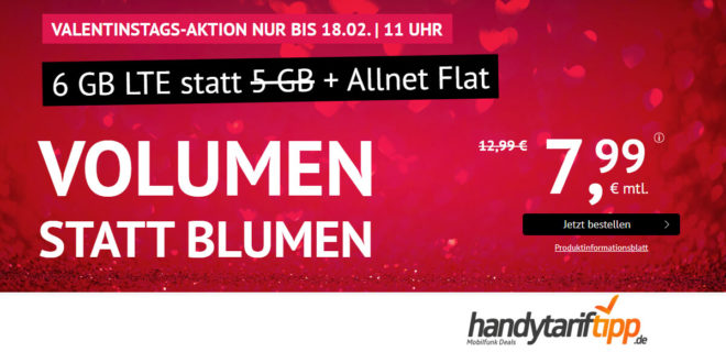 6 GB LTE mit Allnet-Flat & monatlich kündbar nur 7,99€