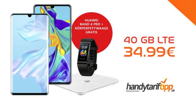 HUAWEI P30 Pro & HUAWEI Band 4 Pro & HUAWEI Körperfettwaage AH100 mit 40 GB LTE nur 34,99€
