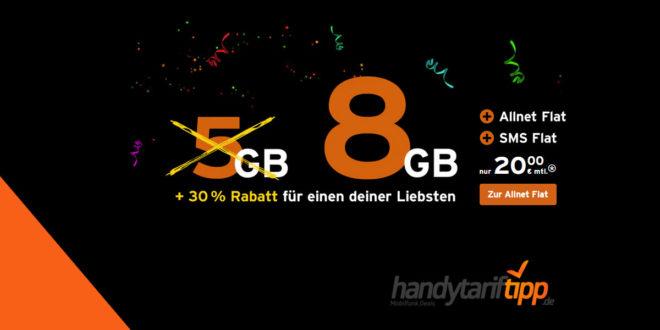 8 GB LTE Allnet im Telekom Netz und monatlich kündbar nur 20€