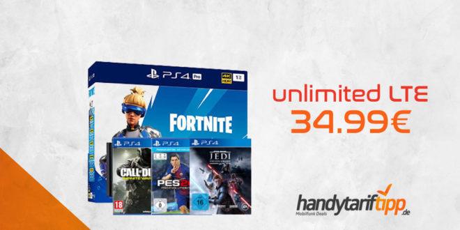 unlimited LTE & PS4 Pro + Fortnite Paket + Star Wars Jedi: Falle Order + CoD Infinite Warfare + PES 2018 für nur 34,99€