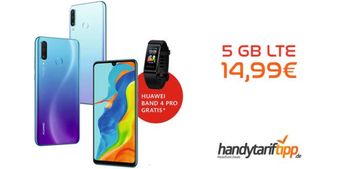 Huawei P30 lite New Edition 256 GB & Huawei Band 4 Pro mit 5 GB LTE nur 14,99€