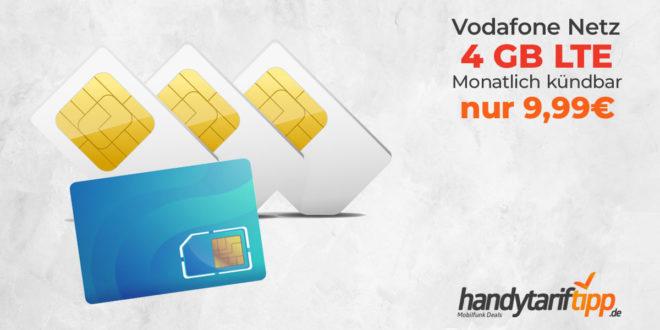4 GB LTE im Vodafone Netz & monatlich kündbar nur 9,99€