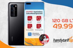 Huawei P40 Pro & Smartwatch GT2e & Huawei Freebuds 3 mit 120 GB LTE nur 49,99€