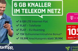 6GB LTE Allnet Flat im Telekom-Netz nur 10,99€