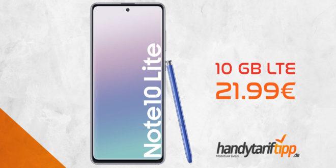 SAMSUNG Galaxy Note 10 Lite mit 10 GB LTE eff. 21,99€