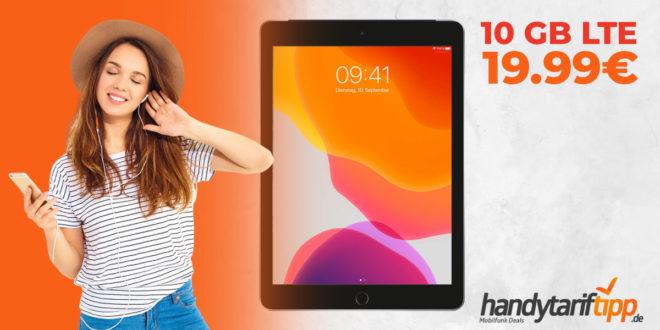 "APPLE iPad 10,2"" Wi-Fi + Cellular mit 10 GB LTE nur 19,99€"