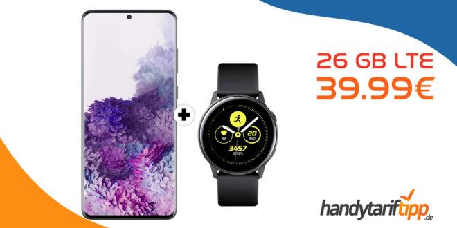 Galaxy S20+ [S20Plus] & Galaxy Watch Active mit 26 GB LTE nur 39,99€