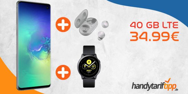 Galaxy S10+ [S10Plus] mit Galaxy Watch Active oder Galaxy Buds mit 40 GB LTE nur 34,99€