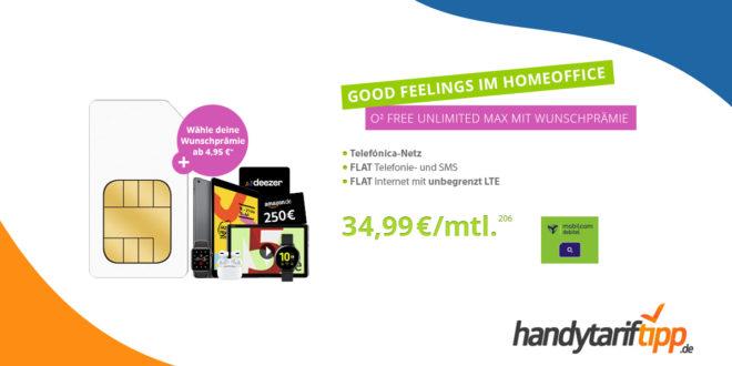 o2 Free unlimited Max mit Wunschprämie - z.B. 250€ Amazon Gutschein oder AirPods Pro nur 34,99€ mtl.