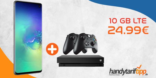 Galaxy S10 & Xbox One S & 2 Controller mit 10 GB LTE nur 26,99€