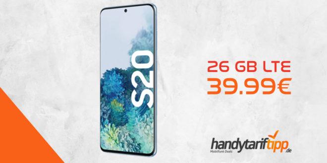 SAMSUNG Galaxy S20 mit 26 GB LTE nur 39,99€