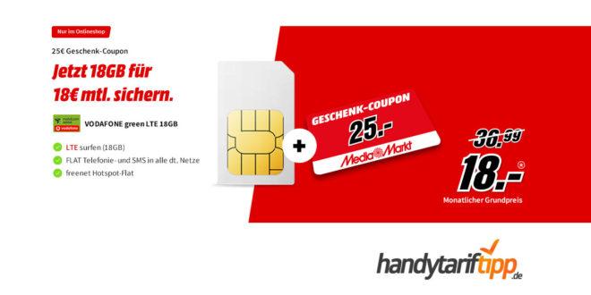 Vodafone green LTE 18GB & 25€ Geschenk-Coupon nur 18€ mtl.
