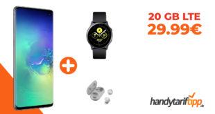 Samsung Galaxy S10 & Samsung Galaxy Watch Active & Samsung Galaxy Buds mit 20 GB LTE nur 29,99€