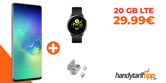 Samsung Galaxy S10 & Samsung Galaxy Watch Active & Samsung Galaxy Buds mit 20 GB LTE nur 29,99€