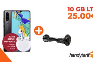 Huawei P30 & FreeBuds 3 & SoFlow Flowpad 1.0 Hoverboard mit 10 GB LTE im Telekom Netz nur 25€