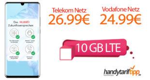 HUAWEI P30 Pro Dual SIM mit 10 GB LTE im Vodafone Netz nur 24,99€ und im Telekom Netz nur 26,99€