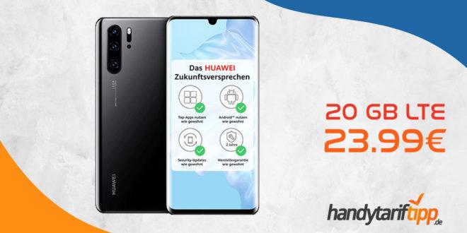 Huawei P30 Pro mit 20 GB LTE nur 23,99 Euro monatlich. Die einmalige Zuzahlung in dieser Aktion liegt bei nur 99 Euro.