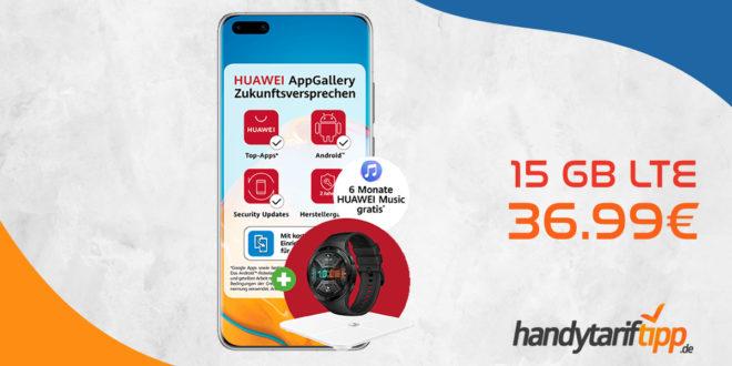 HUAWEI P40 Pro & Huawei Watch GT2e & Körperfettwaage AH100 & 6 Monate Huawei Music mit 15 GB LTE nur 36,99€