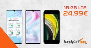 Xiaomi Mi Note 10 Pro oder Huawei P30 Pro oder Xiaomi Pocophone F2 Pro oder Apple iPhone SE (2020) mit 18 GB LTE im Telekom Netz nur 24,99€ mtl.