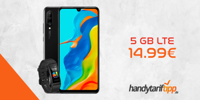 Huawei P30 Lite New Edition 256GB & Huawei Band 4 Pro mit 5 GB LTE nur 14,99€
