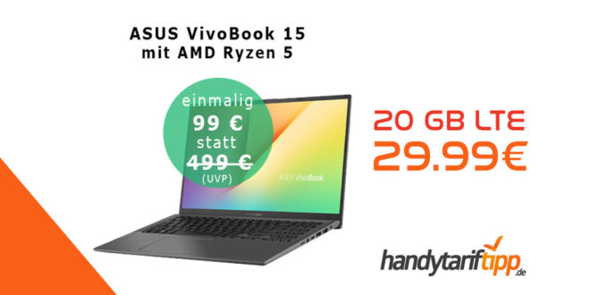 """ASUS VivoBook 15"""" Notebook mit 20 GB LTE nur 29,99€"""