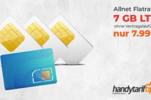 7 GB LTE & Allnet ohne Vertragslaufzeit nur 7,99€