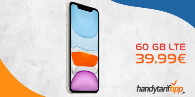 APPLE iPhone 11 mit 60 GB LTE nur 39,99€ mtl.