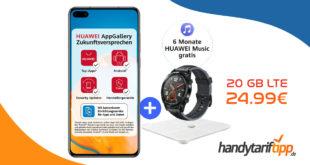 HUAWEI P40 & Huawei Watch GT 2e & Körperfettwaage & 6 Monate Huawei Music mit 20 GB LTE nur 24,99€