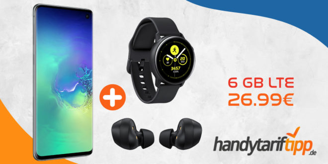 Samsung Galaxy S10 & Galaxy Buds & Watch Active mit 6 GB LTE im Telekom oder Vodafone Netz nur 26,99 Euro
