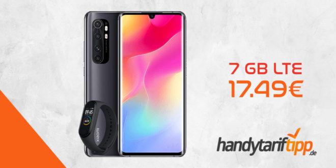 Xiaomi MI Note10 lite 128 GB & Xiaomi Mi Smart Band 4 mit 7 GB LTE Allnet nur 17,49€