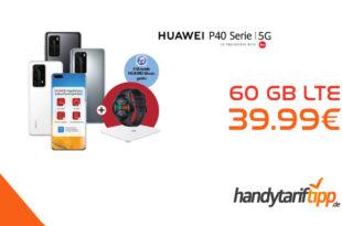HUAWEI P40 Pro & Huawei Watch GT2e & Körperfettwaage AH100 & 6 Monate Huawei Music mit 60 GB LTE nur 39,99€
