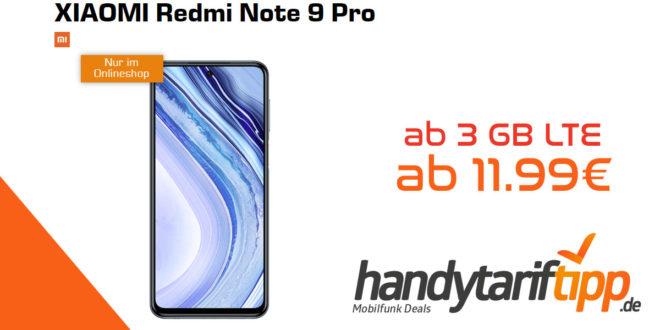 XIAOMI Redmi Note 9 Pro mit 3 GB LTE nur 11,99€ und mit 5 GB LTE nur 14,99€