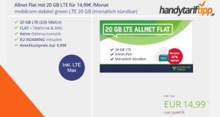 20 GB LTE (bis zu 225 Mbits) & Allnet Flat & monatlich kündbar nur 14,99€ mtl.
