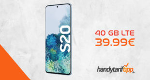 SAMSUNG Galaxy S20 mit 40 GB LTE nur 39,99€. Einmalige Zuzahlung liegt in dieser Aktion bei nur 18,52 Euro.
