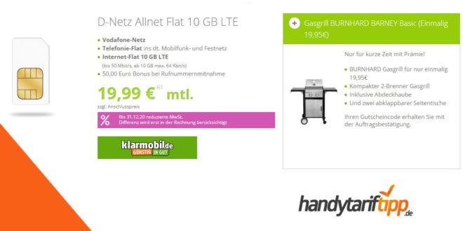 D-Netz Allnet Flat 10 GB LTE mit Gasgrill BURNHARD BARNEY nur 19,95€ mtl.